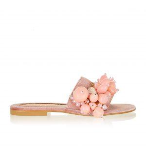 Elina Linardaki Sandals Sel Rose in Blush Velvet and acrylic chunky stones